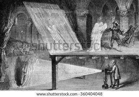 Optical illusions, Spectra, vintage engraved illustration. Magasin Pittoresque 1869. - stock photo