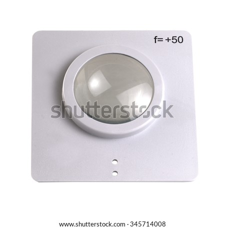 optical lens for experiments on white background