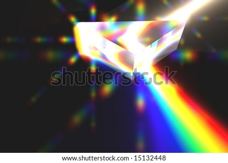 Optical Prism Illustration on black with Lens-Flares