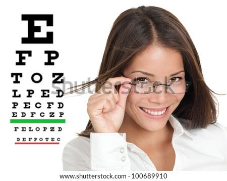 Optician or optometrist wearing glasses standing by Snellen eye exam chart. Female Caucasian / Asian Chinese model isolated on white background - stock photo