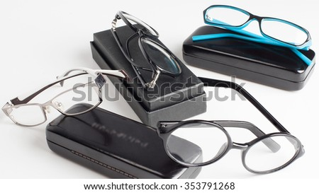Optics. Frames and cases for glasses different design on a white background