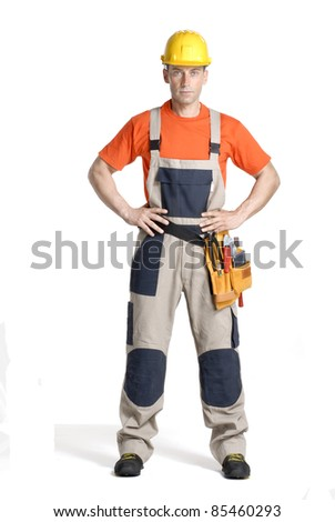 Optimistic construction worker on white background.