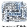Optimistic in word collage - stock photo