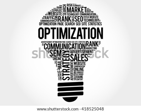 OPTIMIZATION bulb word cloud, business concept - stock photo