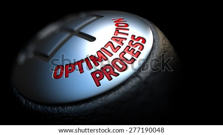 Optimization Process. Gear Shift with Red Text on Black Background. Selective Focus. 3D Render. - stock photo
