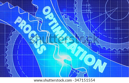 Optimization Process on Blueprint of Cogs. Technical Drawing Style. 3d illustration with Glow Effect. - stock photo