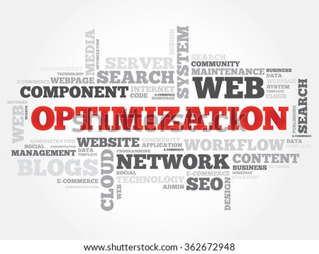 OPTIMIZATION word cloud, business concept - stock photo