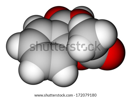 Optimized molecular structure of aspirin on a white background - stock photo
