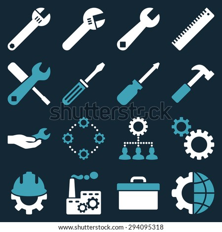 Options and service tools icon set. Glyph style: flat bicolor symbols, blue and white colors, rounded angles, dark blue background. - stock photo