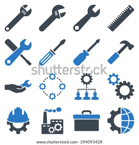 Options and service tools icon set. Glyph style: flat bicolor symbols, smooth blue colors, rounded angles, white background. - stock photo