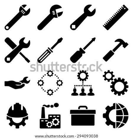 Options and service tools icon set. Glyph style: flat symbols, black color, rounded angles, white background. - stock photo