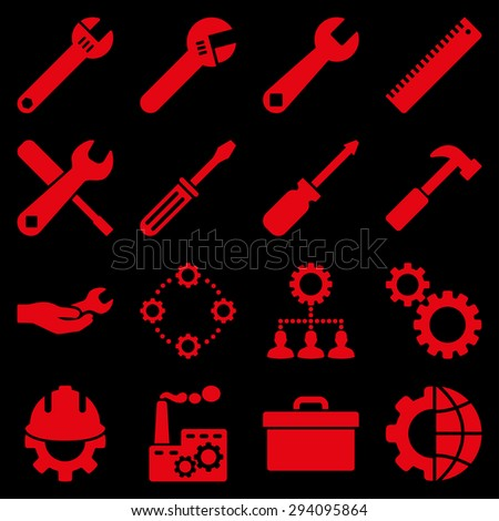 Options and service tools icon set. Glyph style: flat symbols, red color, rounded angles, black background. - stock photo