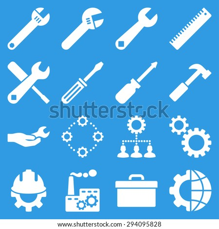 Options and service tools icon set. Glyph style: flat symbols, white color, rounded angles, blue background. - stock photo