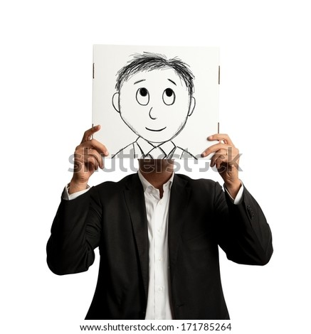 Optmist businessman with cartoon smiling designed on a sheet - stock photo