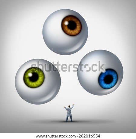 Optometrist doctor concept and optician services symbol as a health professional juggling human eye balls as a metaphor for patient vision and eyesight health care. - stock photo