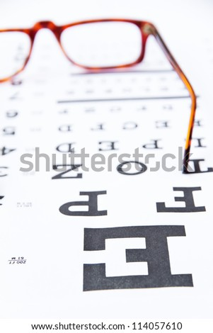 optometry concept, close up at eye chart - stock photo