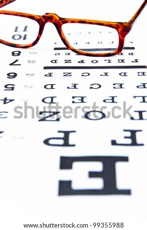 optometry concept, close up at eye glasses - stock photo