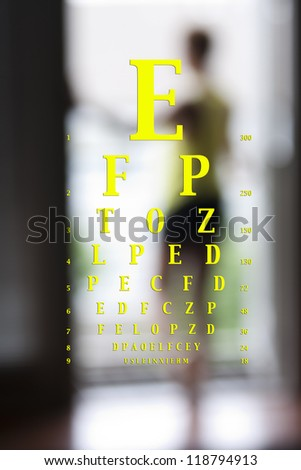 optotype vision chart over a blurred image of a woman