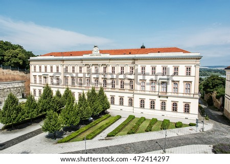 Opulent architecture in Esztergom, Hungary. Architectural theme. Historic building.