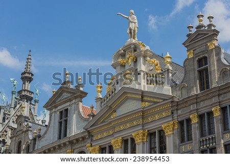 Opulent guildhalls surrounds the Grand Place or Grote Markt, the central square of Brussels in Belgium.
