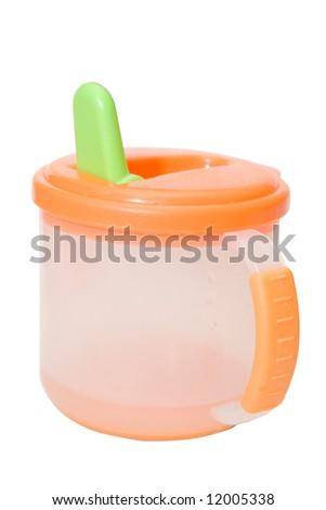 orabge baby bottle isolated on white - stock photo