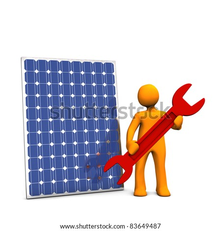 Orage cartoon with red spanner and photovoltaic panel on white background. - stock photo