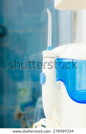 Oral care. home water flosser tool for deep clean your teeth and gum feel fresh. Dental hygiene.