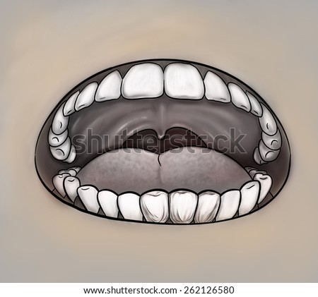 Oral health concept. Mouth close up gray image. Digital background raster illustration. - stock photo