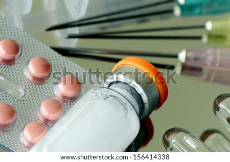 Oral Medication, Injection Medication and Injection devices. - stock photo