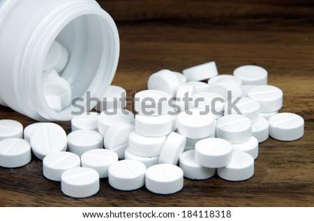 Oral medicine, paracetamol,white pills. - stock photo