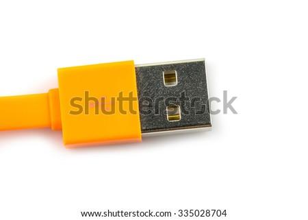 Orande USB Cable Plug isolated on white background - stock photo