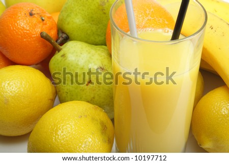 Orang juice and fruits in bulk