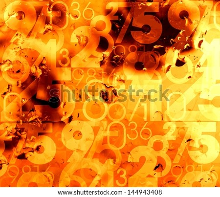 orange abstract hot numbers background illustration - stock photo