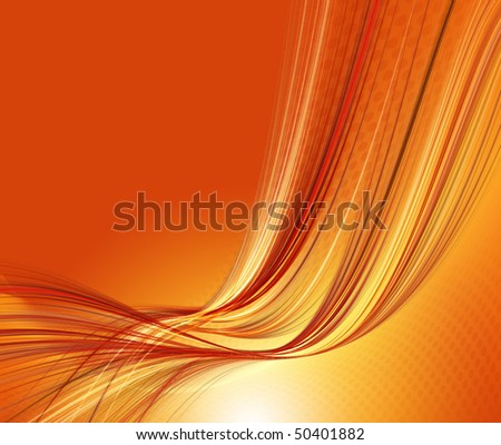 Orange abstract image with circles and lines