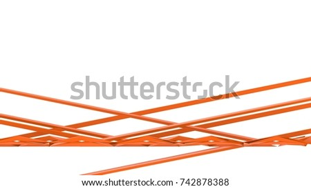 orange abstract straight lines on white background