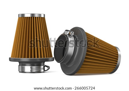 orange air filter for car isolated on white background - stock photo