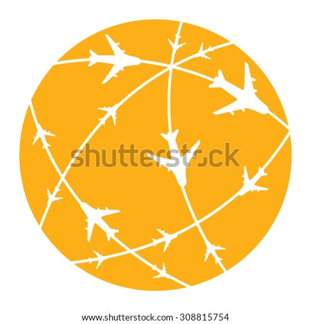 Orange Air Transportation Infographics Flat Icon, Sign Isolated on White Background