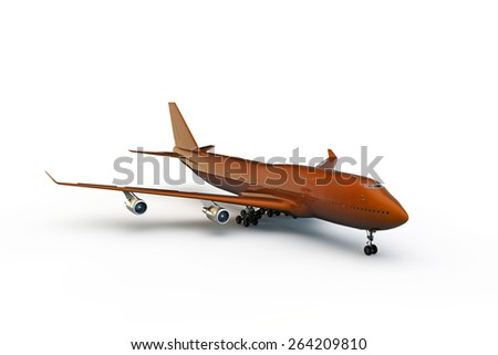 orange airplane isolated on white background