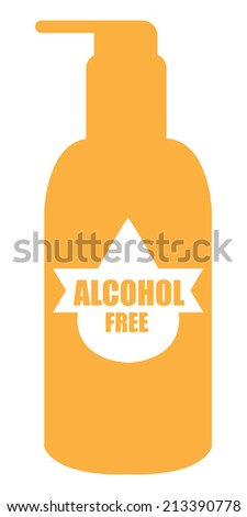 Orange Alcohol Free Icon, Label or Cosmetic Container Isolated on White Background  - stock photo
