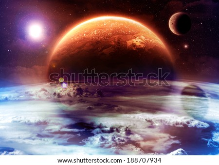 Orange Alien World - Elements of this image furnished by NASA - stock photo