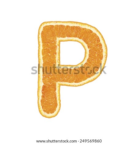 Orange alphabet isolated on white background (Letter P)  - stock photo