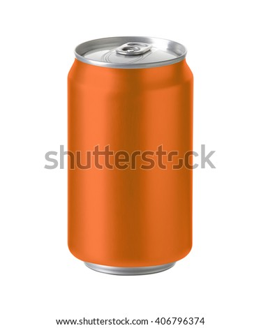 orange aluminum can with blank copy space, ideal for beer, lager, alcohol, soft drink, soda, lemonade, cola, energy drink, juice, water etc., Realistic photo image with clip path - stock photo