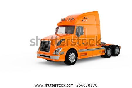 Orange american truck isolated on white background - stock photo