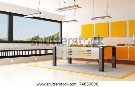 orange and black orange office - rendering- the image on background is a my photo - stock photo