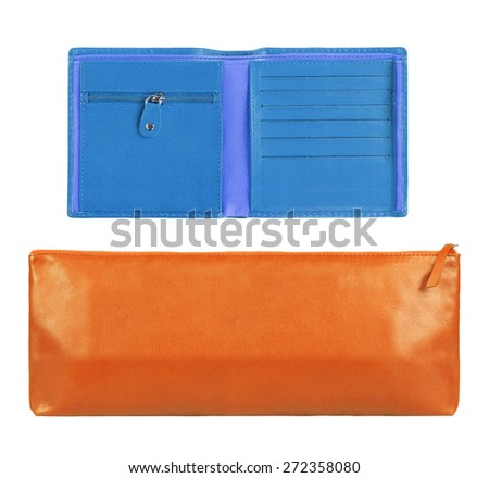 Orange and blue Leather Wallets - stock photo