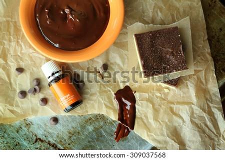 Orange and chocolate baking ingredients - stock photo