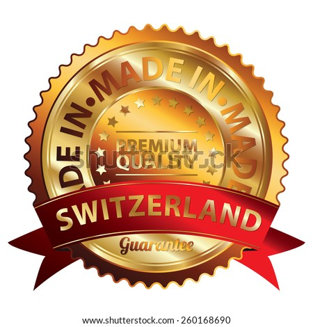 Orange and Gold Metallic Made in Switzerland Premium Quality Ribbon, Badge, Icon, Sticker, Banner, Tag, Sign or Label Isolated on White Background