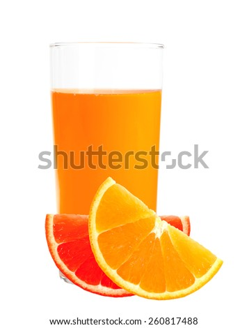 orange and grapefruit juice in the glass isolated on white background - stock photo