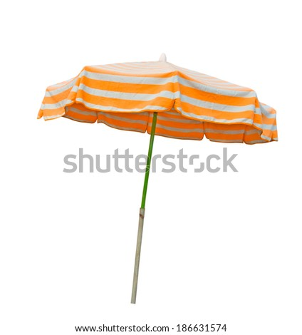 Orange and gray striped beach umbrella isolated on white with clipping path - stock photo