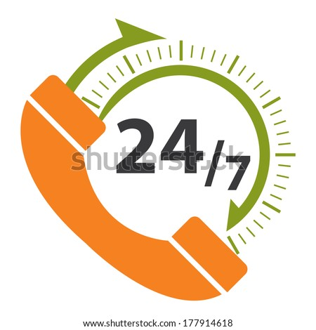 Orange and Green 24/7 Call Center Icon, Badge, Label or Sticker for Customer Service, Support or CRM Concept Isolated on White Background  - stock photo